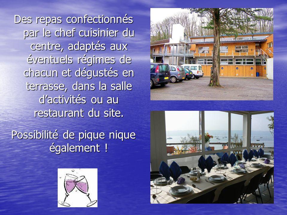 Des repas confectionnés par le chef cuisinier du centre, adaptés aux éventuels régimes de chacun et dégustés en terrasse, dans la salle dactivités ou au restaurant du site.
