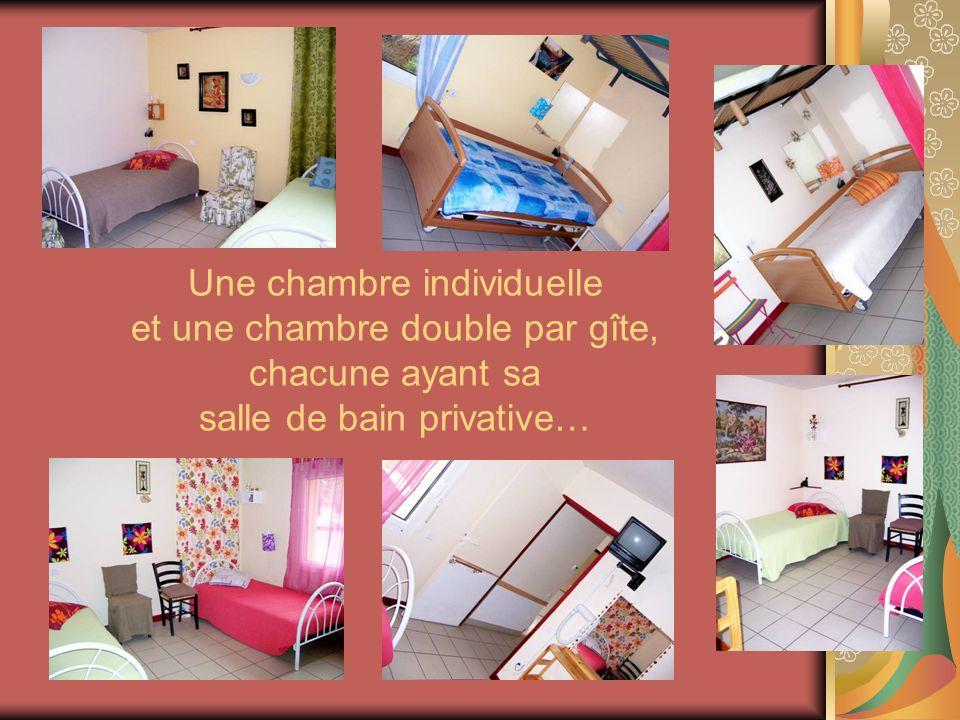 Une chambre individuelle et une chambre double par gîte, chacune ayant sa salle de bain privative…
