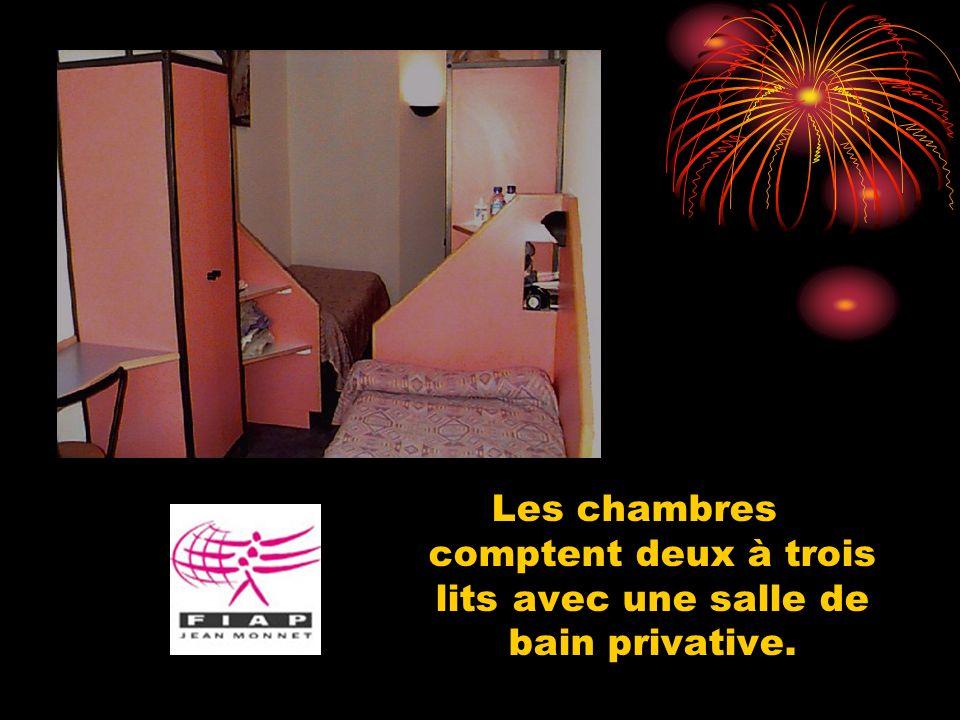 Les chambres comptent deux à trois lits avec une salle de bain privative.