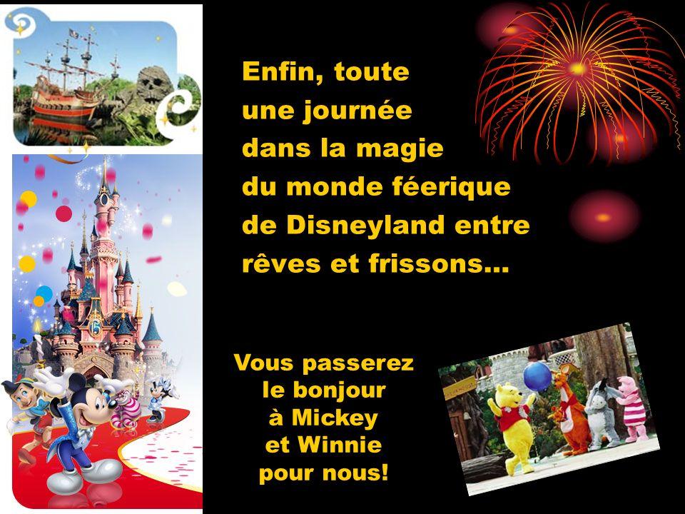 Enfin, toute une journée dans la magie du monde féerique de Disneyland entre rêves et frissons… Vous passerez le bonjour à Mickey et Winnie pour nous!