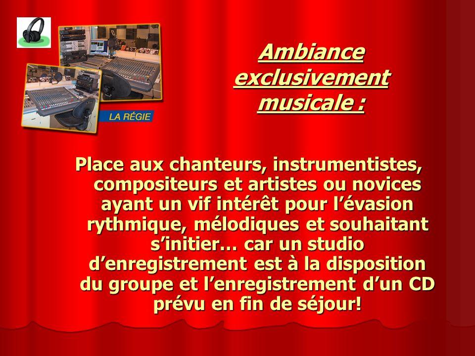 Place aux chanteurs, instrumentistes, compositeurs et artistes ou novices ayant un vif intérêt pour lévasion rythmique, mélodiques et souhaitant sinit