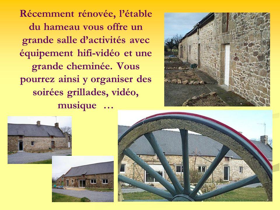 Récemment rénovée, létable du hameau vous offre un grande salle dactivités avec équipement hifi-vidéo et une grande cheminée. Vous pourrez ainsi y org