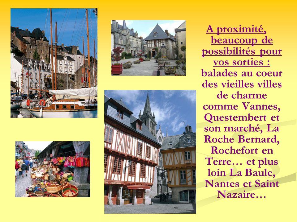 A proximité, beaucoup de possibilités pour vos sorties : balades au coeur des vieilles villes de charme comme Vannes, Questembert et son marché, La Ro