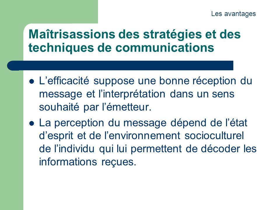 Maîtrisassions des stratégies et des techniques de communications Lefficacité suppose une bonne réception du message et linterprétation dans un sens souhaité par lémetteur.
