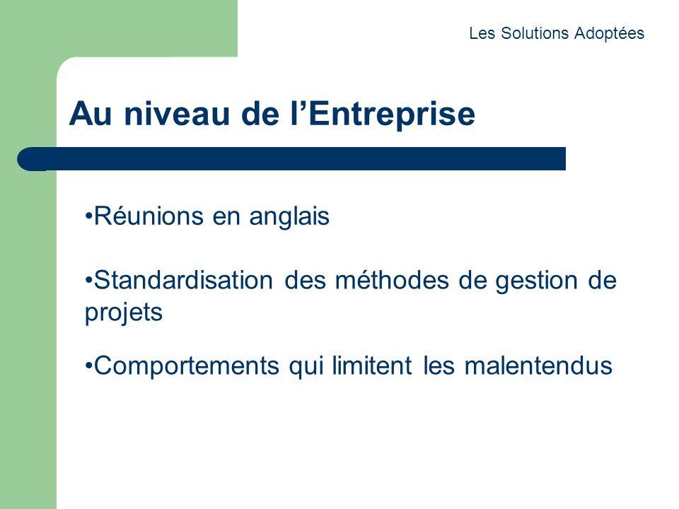 Au niveau de lEntreprise Les Solutions Adoptées Standardisation des méthodes de gestion de projets Réunions en anglais Comportements qui limitent les malentendus