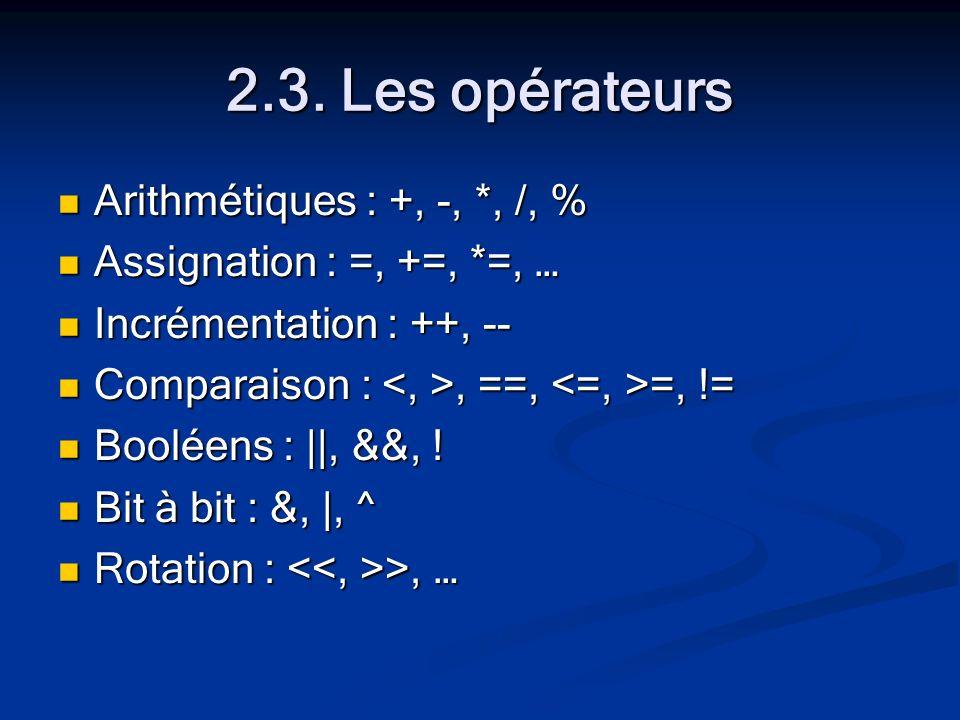 2.3. Les opérateurs Arithmétiques : +, -, *, /, % Arithmétiques : +, -, *, /, % Assignation : =, +=, *=, … Assignation : =, +=, *=, … Incrémentation :