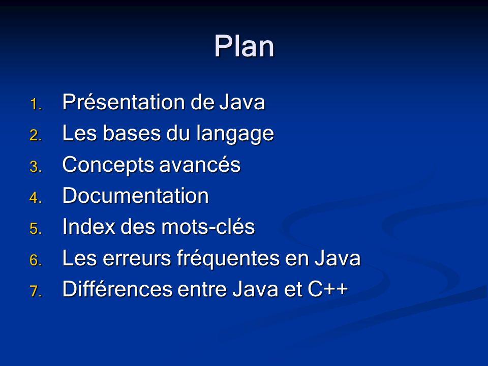 Plan 1. Présentation de Java 2. Les bases du langage 3.