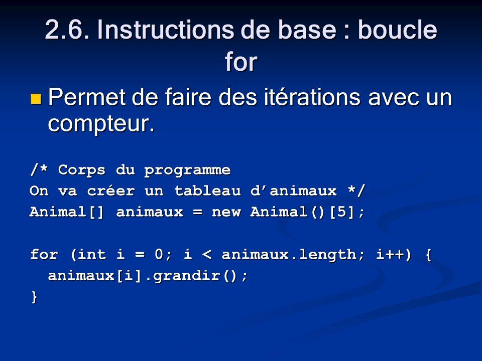 2.6. Instructions de base : boucle for Permet de faire des itérations avec un compteur.