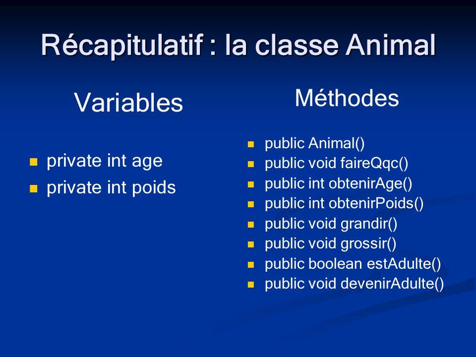 Récapitulatif : la classe Animal Variables private int age private int poids Méthodes public Animal() public void faireQqc() public int obtenirAge() p