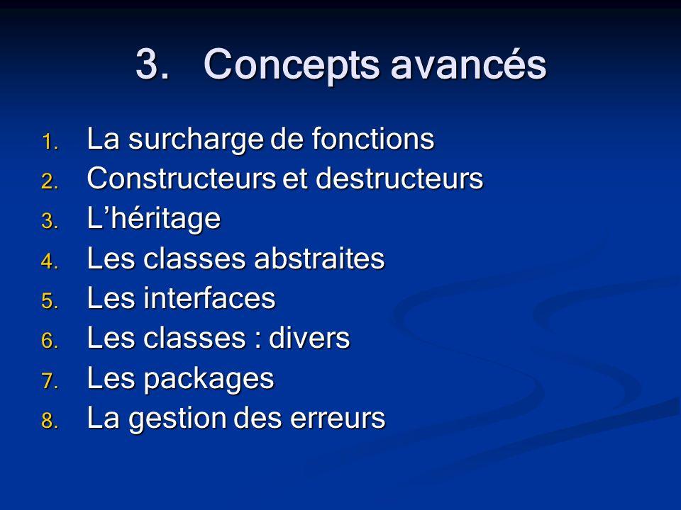 3.Concepts avancés 1. La surcharge de fonctions 2.