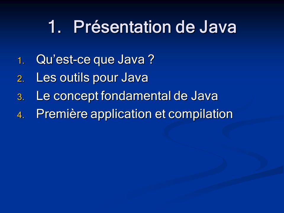 1.Présentation de Java 1. Quest-ce que Java . 2.