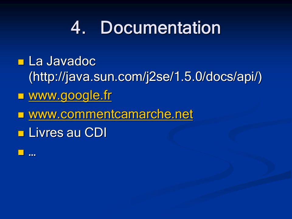 4.Documentation La Javadoc (http://java.sun.com/j2se/1.5.0/docs/api/) La Javadoc (http://java.sun.com/j2se/1.5.0/docs/api/) www.google.fr www.google.fr www.google.fr www.commentcamarche.net www.commentcamarche.net www.commentcamarche.net Livres au CDI Livres au CDI …