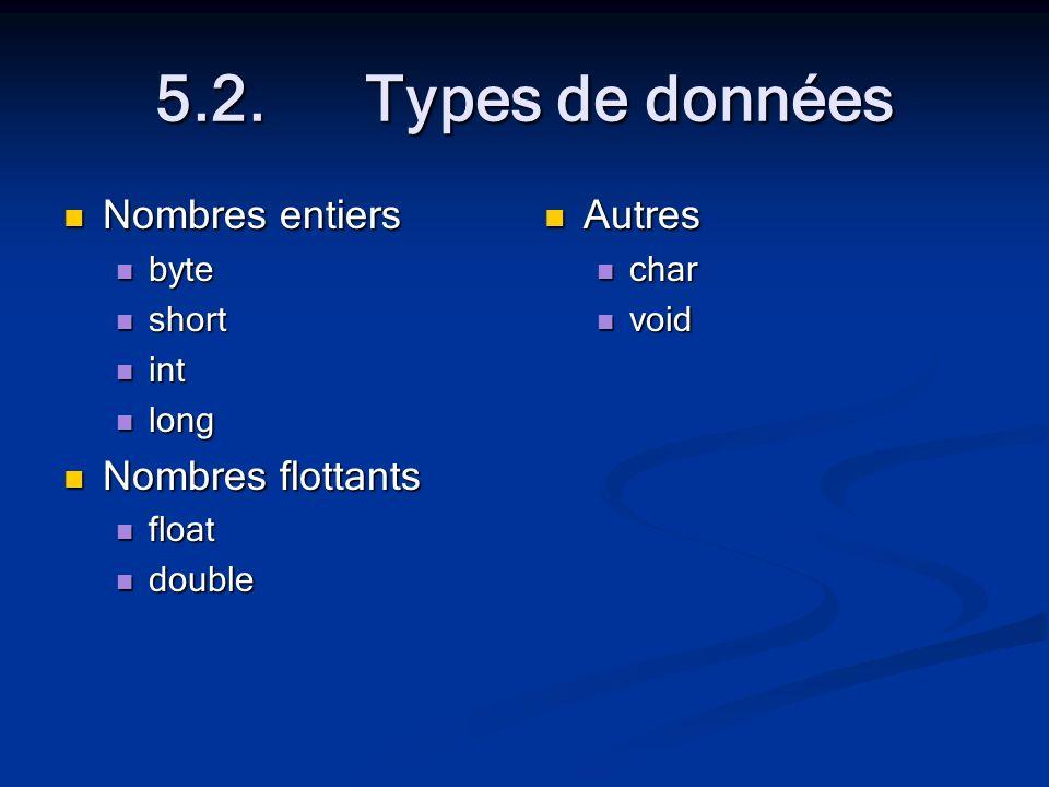 5.2.Types de données Nombres entiers Nombres entiers byte byte short short int int long long Nombres flottants Nombres flottants float float double double Autres char void