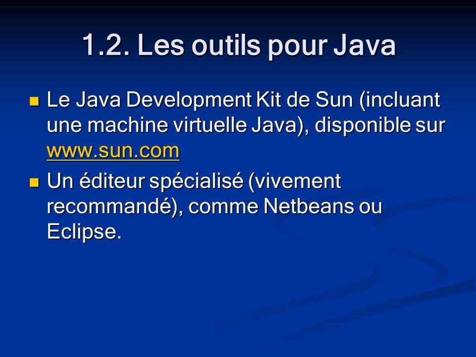 1.2. Les outils pour Java Le Java Development Kit de Sun (incluant une machine virtuelle Java), disponible sur www.sun.com Le Java Development Kit de