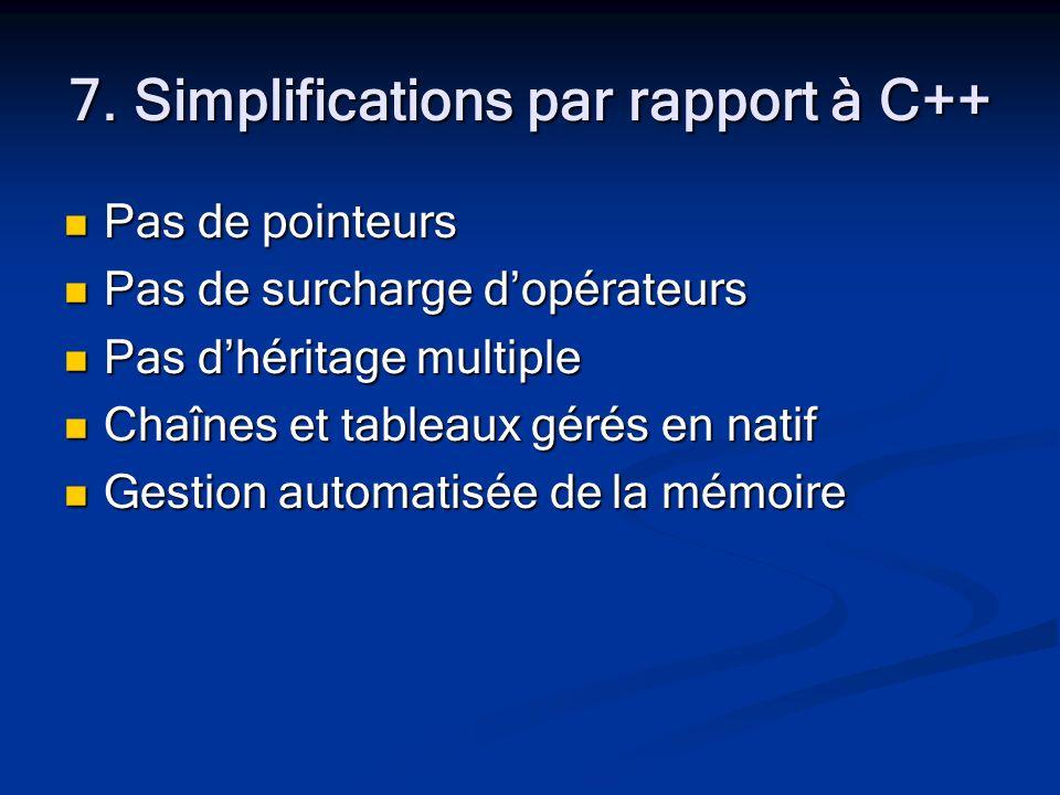 7. Simplifications par rapport à C++ Pas de pointeurs Pas de pointeurs Pas de surcharge dopérateurs Pas de surcharge dopérateurs Pas dhéritage multipl