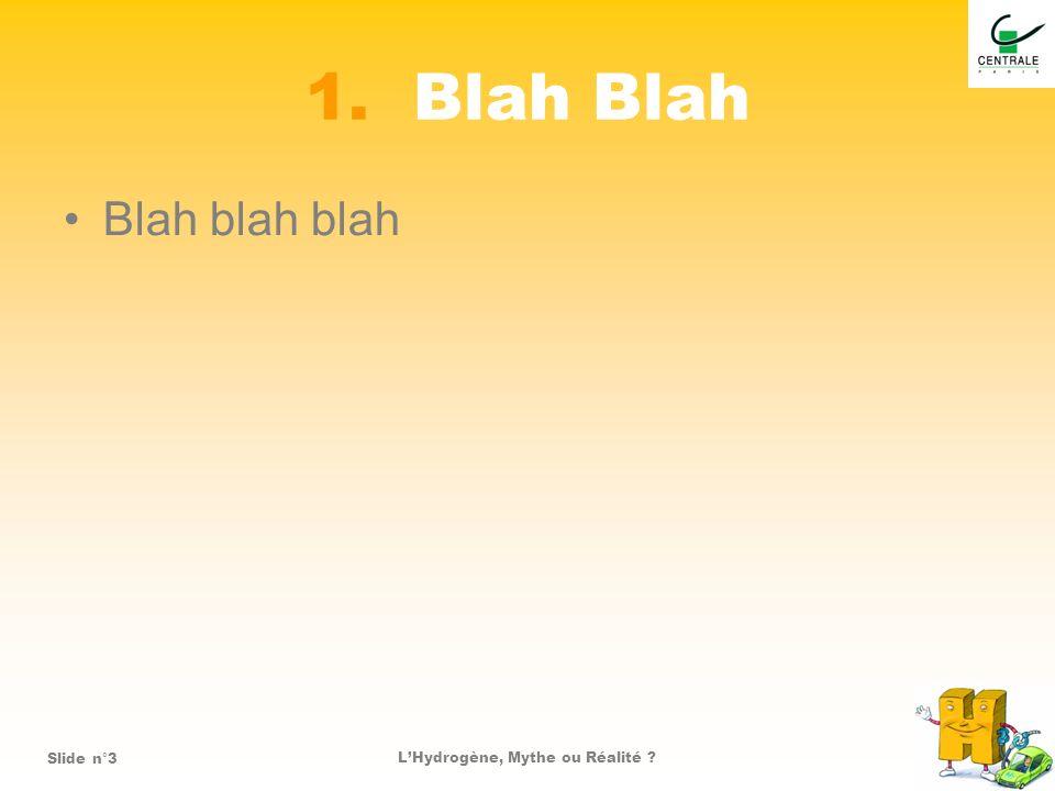 LHydrogène, Mythe ou Réalité ?Slide n°4 Blah Une image que vous pouvez utiliser :