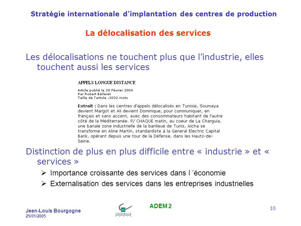 Stratégie internationale dimplantation des centres de production Jean-Louis Bourgogne 25/01/2005 ADEM 2 11 Les emplois « high-tech » .