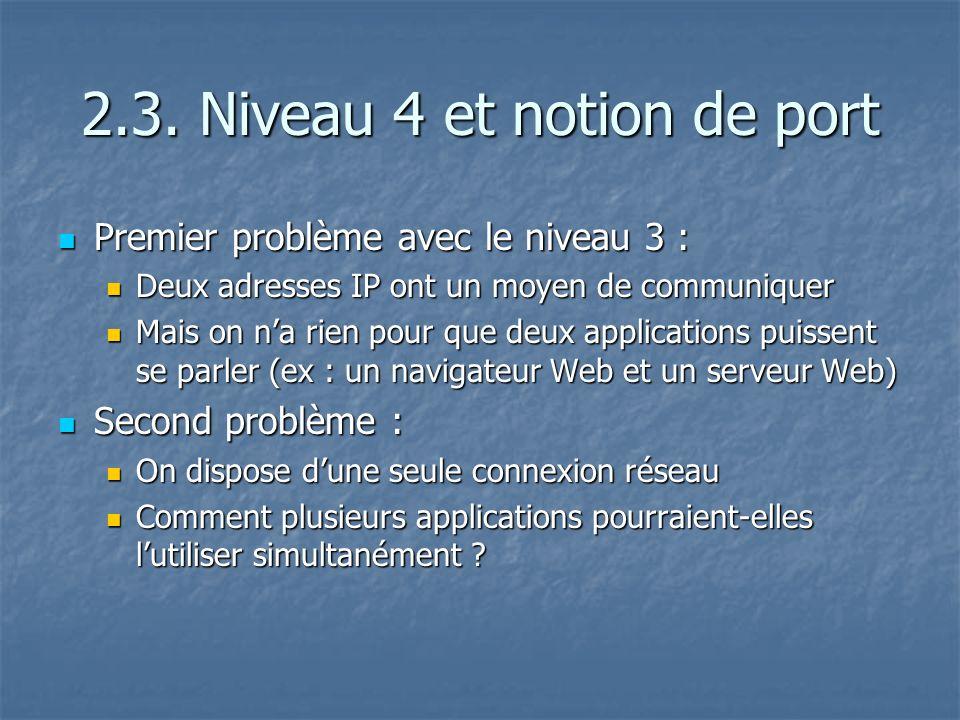 2.3. Niveau 4 et notion de port Premier problème avec le niveau 3 : Premier problème avec le niveau 3 : Deux adresses IP ont un moyen de communiquer D