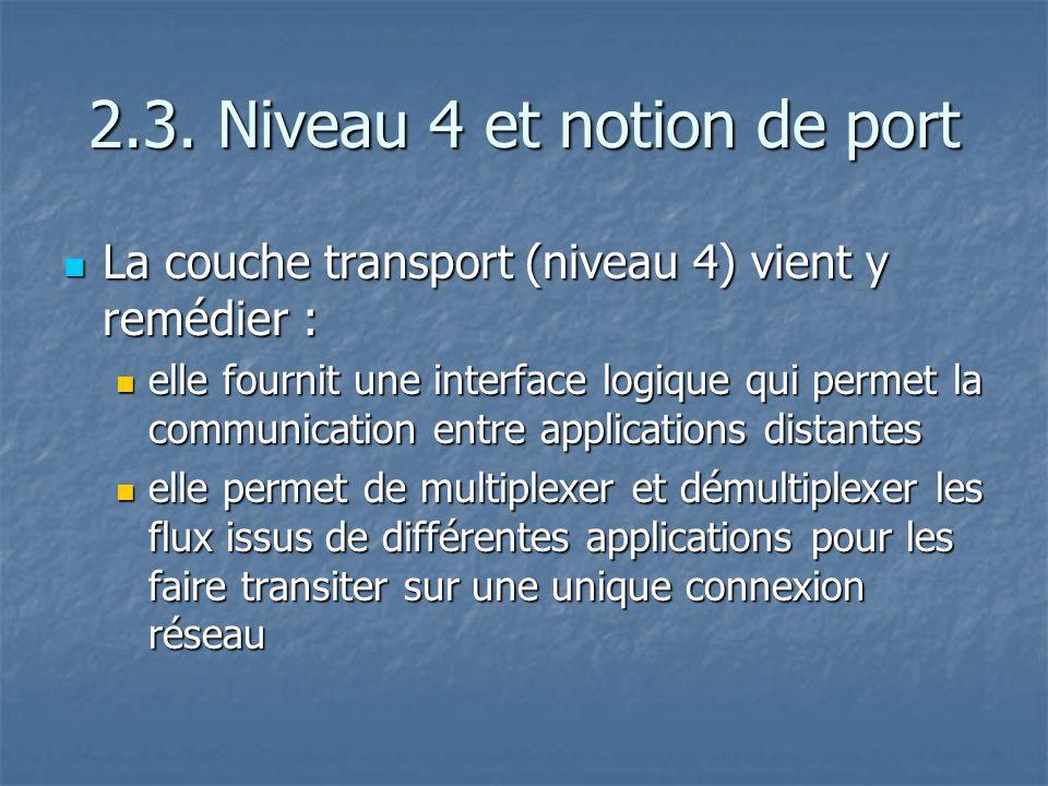 2.3. Niveau 4 et notion de port La couche transport (niveau 4) vient y remédier : La couche transport (niveau 4) vient y remédier : elle fournit une i