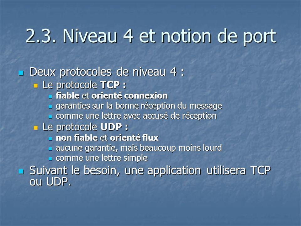 2.3. Niveau 4 et notion de port Deux protocoles de niveau 4 : Deux protocoles de niveau 4 : Le protocole TCP : Le protocole TCP : fiable et orienté co