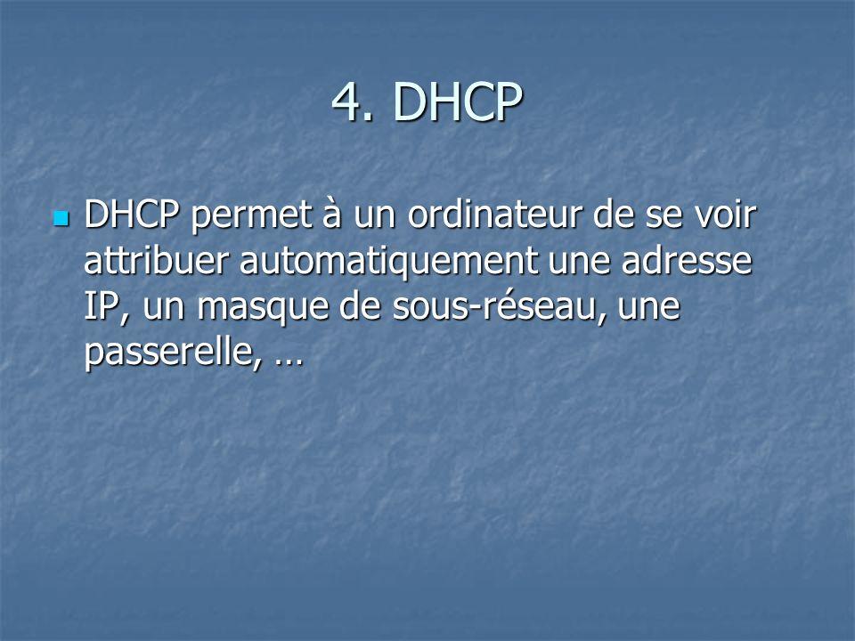 4. DHCP DHCP permet à un ordinateur de se voir attribuer automatiquement une adresse IP, un masque de sous-réseau, une passerelle, … DHCP permet à un
