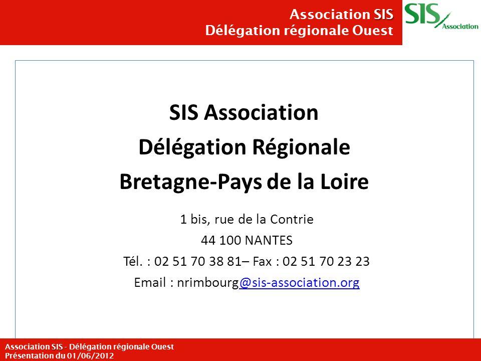 SIS Association Délégation Régionale Bretagne-Pays de la Loire 1 bis, rue de la Contrie 44 100 NANTES Tél. : 02 51 70 38 81– Fax : 02 51 70 23 23 Emai