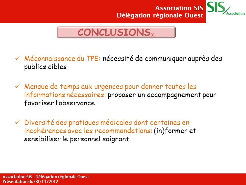 Méconnaissance du TPE: nécessité de communiquer auprès des publics cibles Manque de temps aux urgences pour donner toutes les informations nécessaires