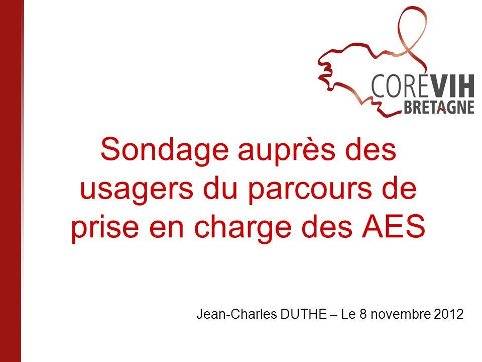 Sondage auprès des usagers du parcours de prise en charge des AES Jean-Charles DUTHE – Le 8 novembre 2012