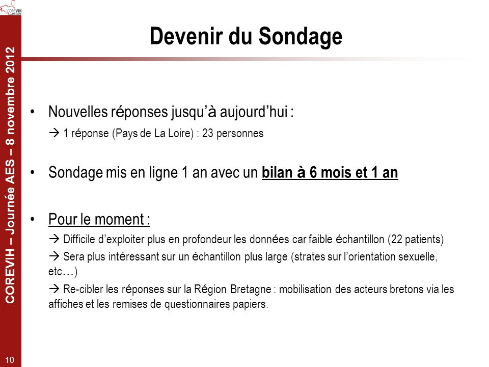 COREVIH – Journée AES – 8 novembre 2012 10 Nouvelles r é ponses jusqu à aujourd hui : 1 r é ponse (Pays de La Loire) : 23 personnes Sondage mis en lig
