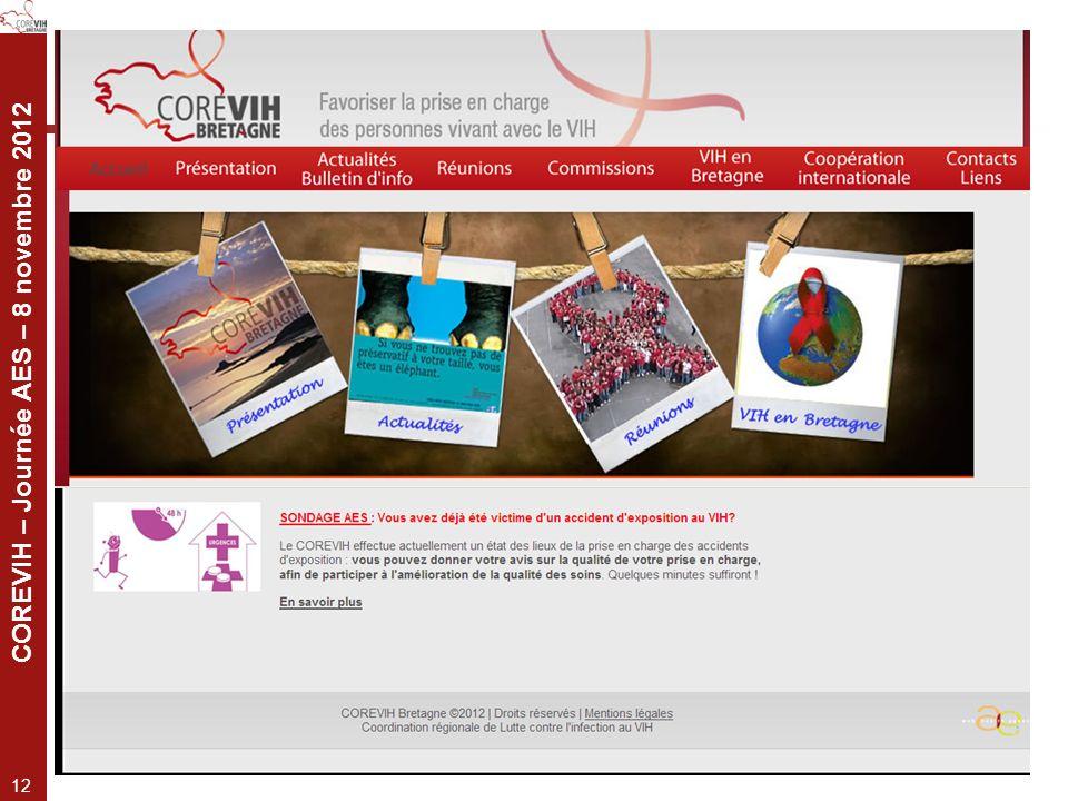 COREVIH – Journée AES – 8 novembre 2012 12