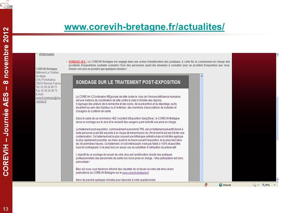 COREVIH – Journée AES – 8 novembre 2012 13 www.corevih-bretagne.fr/actualites/