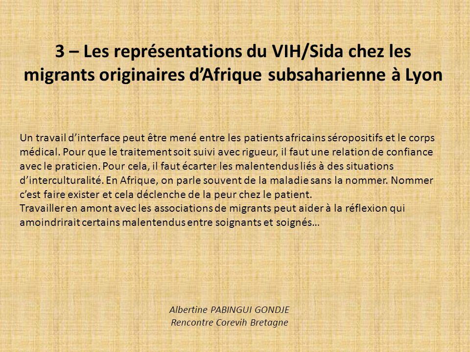 3 – Les représentations du VIH/Sida chez les migrants originaires dAfrique subsaharienne à Lyon Un travail dinterface peut être mené entre les patient