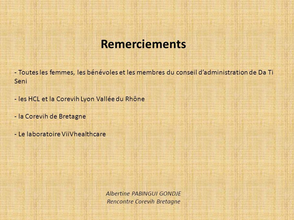 Remerciements - Toutes les femmes, les bénévoles et les membres du conseil dadministration de Da Ti Seni - les HCL et la Corevih Lyon Vallée du Rhône