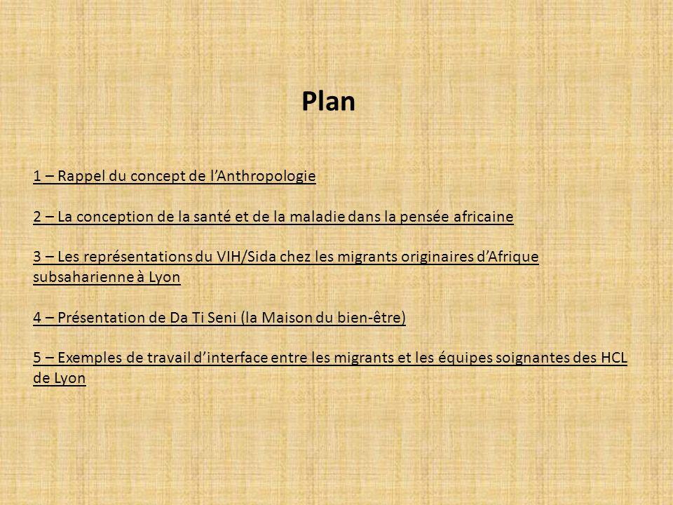 Plan 1 – Rappel du concept de lAnthropologie 2 – La conception de la santé et de la maladie dans la pensée africaine 3 – Les représentations du VIH/Si