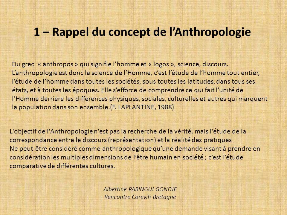 1 – Rappel du concept de lAnthropologie Du grec « anthropos » qui signifie lhomme et « logos », science, discours. Lanthropologie est donc la science