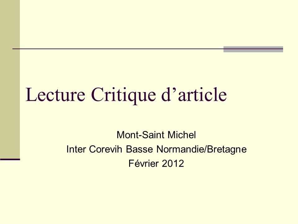 Lecture Critique darticle Mont-Saint Michel Inter Corevih Basse Normandie/Bretagne Février 2012