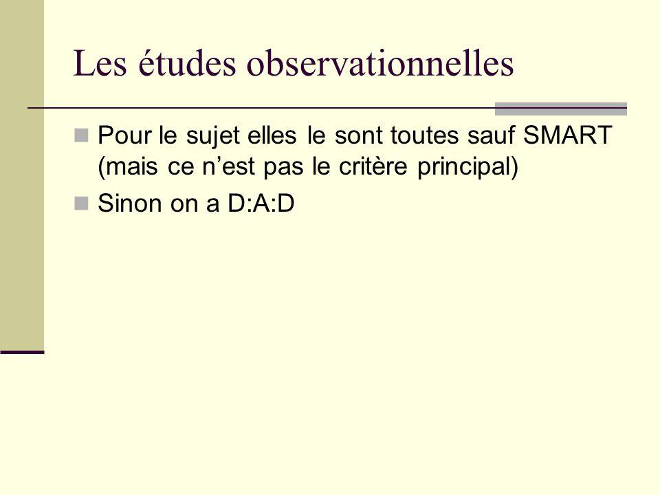 Les études observationnelles Pour le sujet elles le sont toutes sauf SMART (mais ce nest pas le critère principal) Sinon on a D:A:D