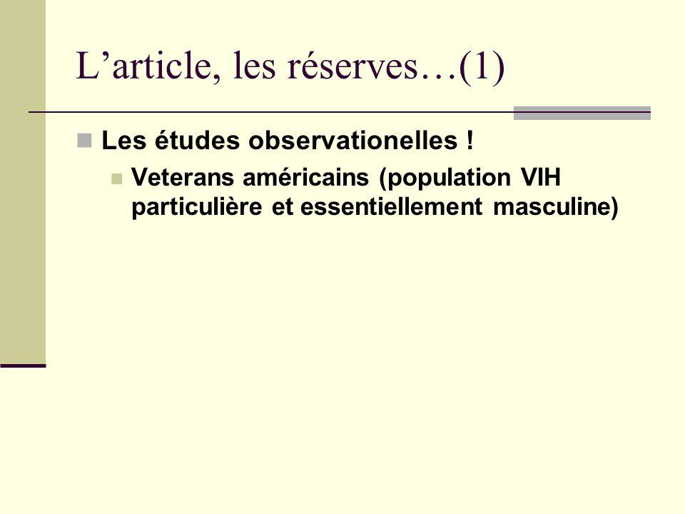 Larticle, les réserves…(1) Les études observationelles .
