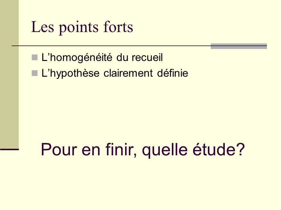 Les points forts Lhomogénéité du recueil Lhypothèse clairement définie Pour en finir, quelle étude