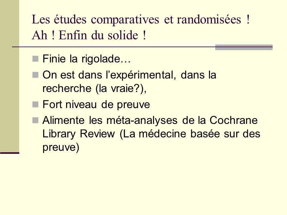 Les études comparatives et randomisées . Ah . Enfin du solide .