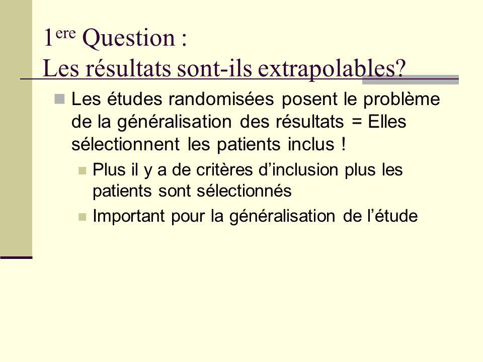 1 ere Question : Les résultats sont-ils extrapolables.