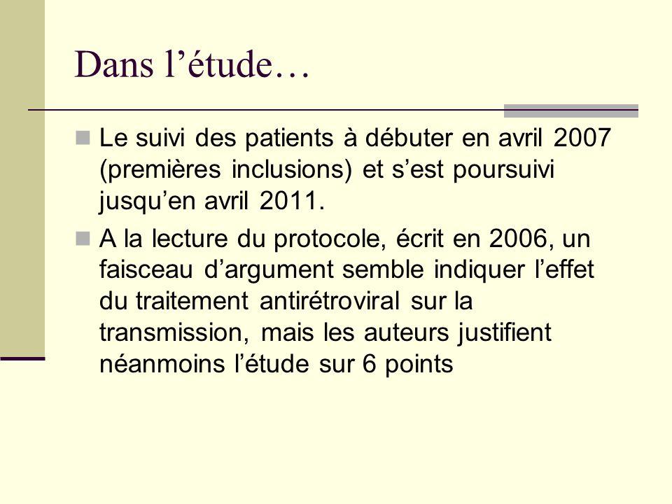 Dans létude… Le suivi des patients à débuter en avril 2007 (premières inclusions) et sest poursuivi jusquen avril 2011.
