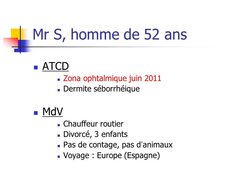 Mr S, homme de 52 ans ATCD Zona ophtalmique juin 2011 Dermite séborrhéique MdV Chauffeur routier Divorcé, 3 enfants Pas de contage, pas danimaux Voyag