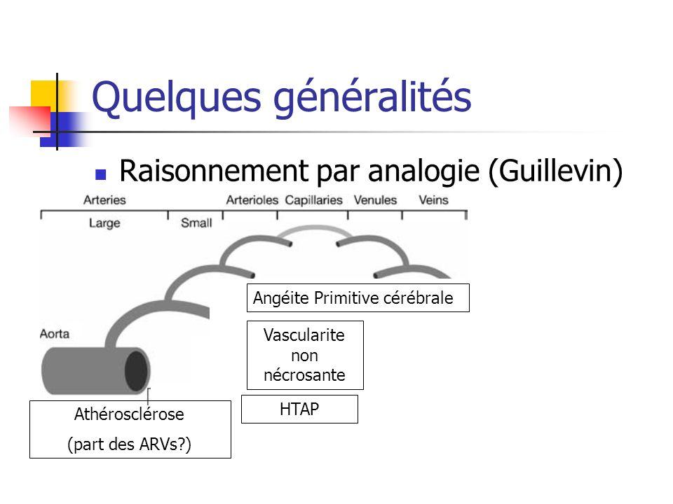 Quelques généralités Raisonnement par analogie (Guillevin) Angéite Primitive cérébrale Vascularite non nécrosante HTAP Athérosclérose (part des ARVs?)