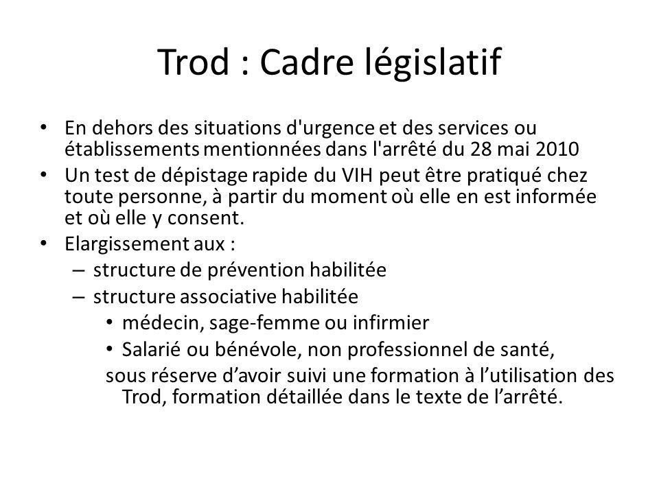 Trod : Cadre législatif En dehors des situations d'urgence et des services ou établissements mentionnées dans l'arrêté du 28 mai 2010 Un test de dépis