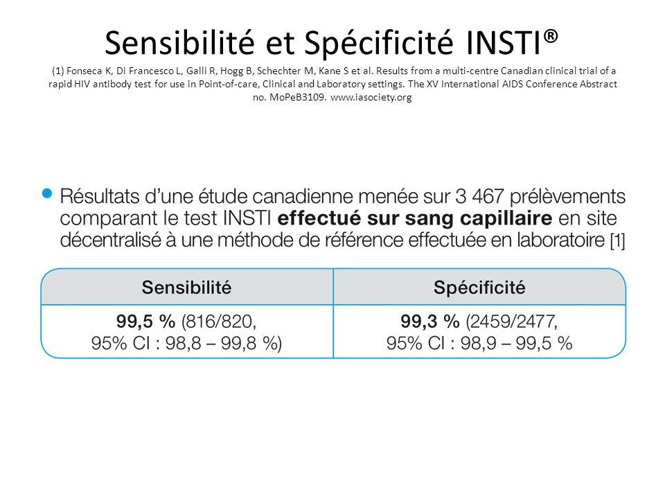 Sensibilité et Spécificité INSTI® (1) Fonseca K, Di Francesco L, Galli R, Hogg B, Schechter M, Kane S et al. Results from a multi-centre Canadian clin