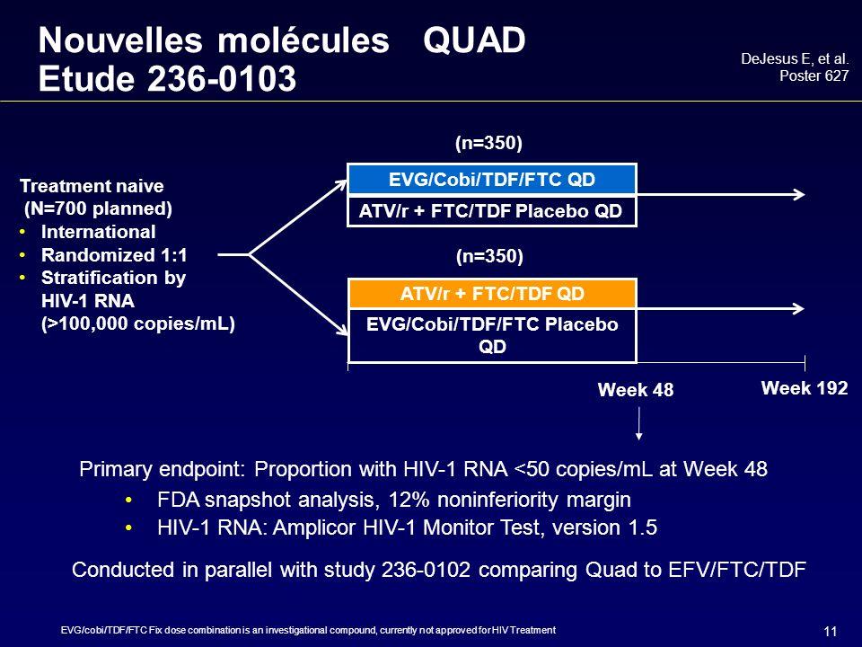 11 Nouvelles molécules QUAD Etude 236-0103 DeJesus E, et al.