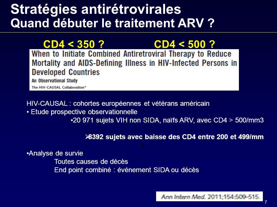 7 Stratégies antirétrovirales Quand débuter le traitement ARV .