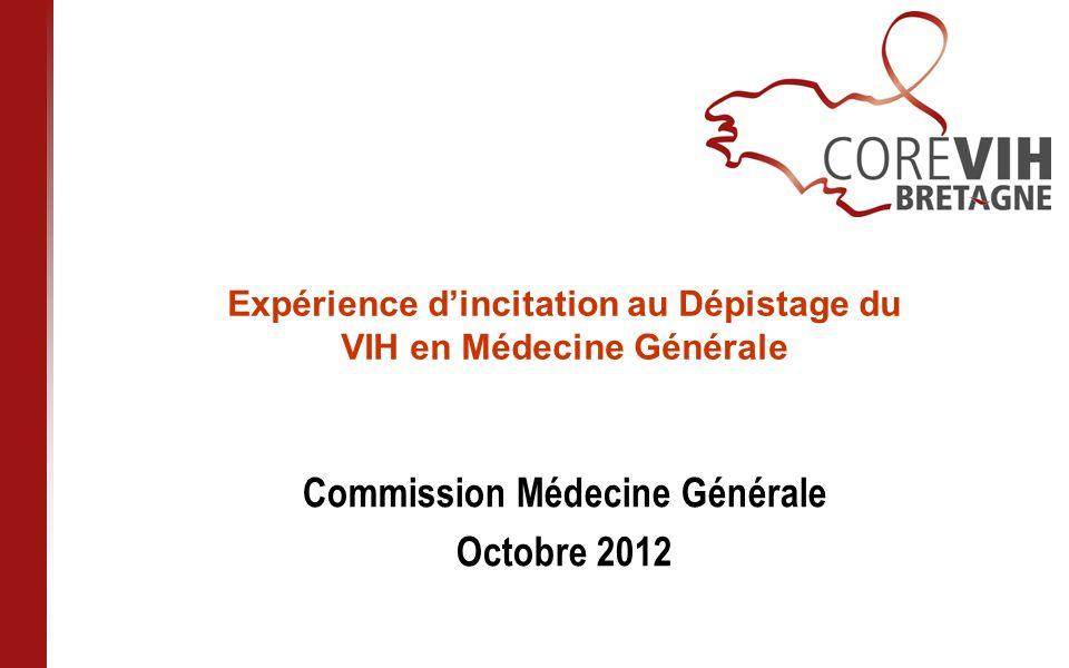 Expérience dincitation au Dépistage du VIH en Médecine Générale Commission Médecine Générale Octobre 2012