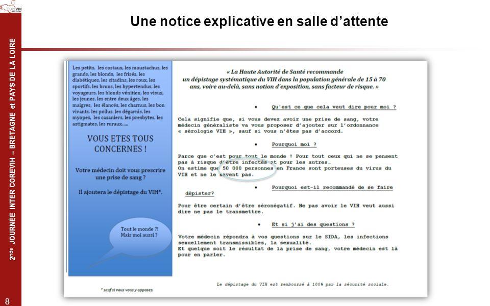 2 nde JOURNÉE INTER COREVIH – BRETAGNE et PAYS DE LA LOIRE 8 Une notice explicative en salle dattente